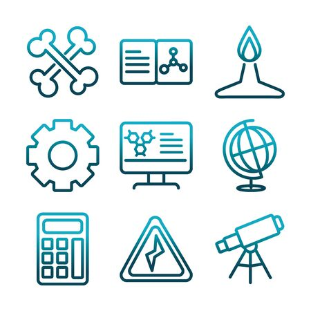 science and research laboratory study icons collection gradient style icon
