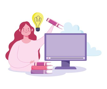online education, teacher with computer and stack of books vector illustration