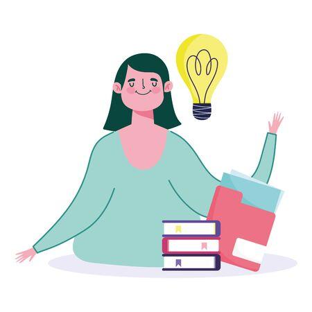 online education, teacher with stacked books folder idea cartoon vector illustration
