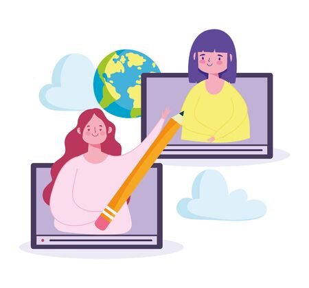 online education, teacher student web creativity world class vector illustration Иллюстрация