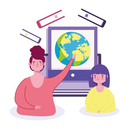 online education, teacher and student girl teaching class world web