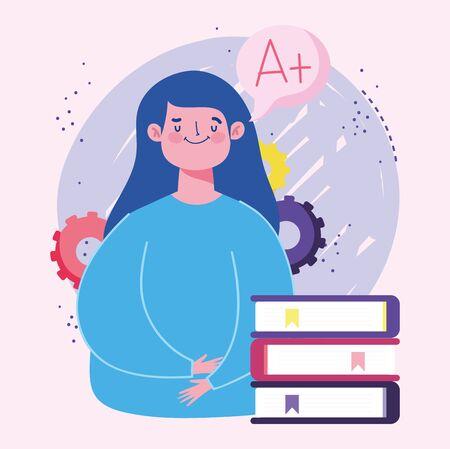 online education, teacher woman character stacked books vector illustration Иллюстрация