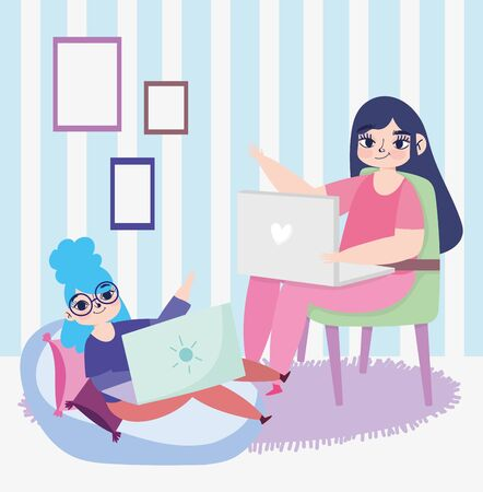 working remotely, young women sitting on chair and bean chair with laptops