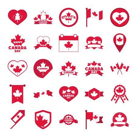 canada day, independence freedom national patriotism celebration icons set flat style icon