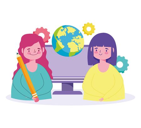 online education, happy student girls world computer pencil class Ilustração