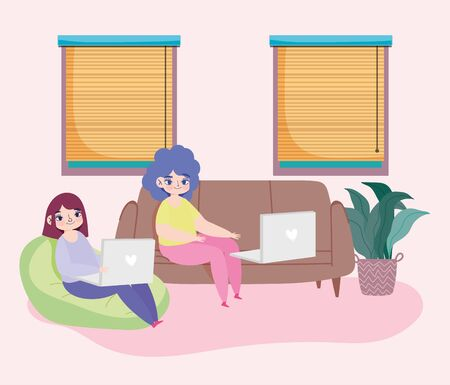 working remotely, young women sitting on sofa beanchair with laptop in room vector illustration