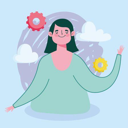 online education, teacher woman creativity gears cartoon vector illustration