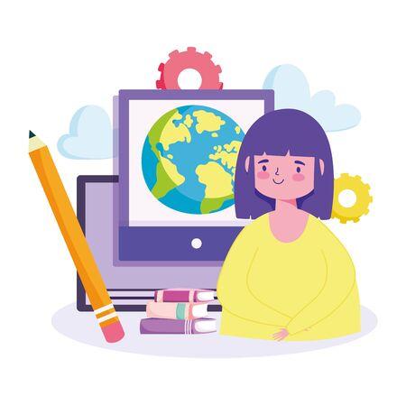 online education, girl student computer books pencil lesson vector illustration