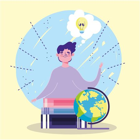 online education, student boy school globe stacked books idea vector illustration