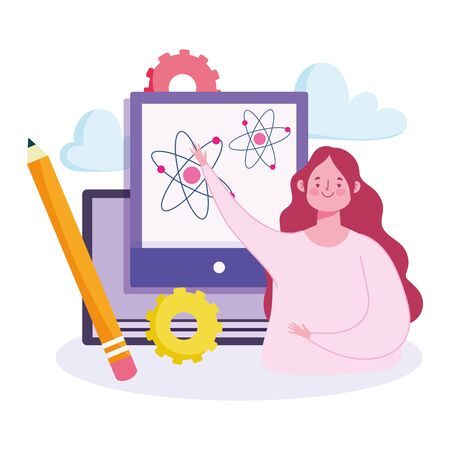 online education, teacher with web science teaching course vector illustration