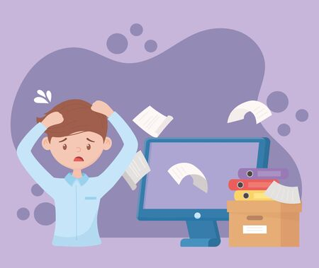 stress at work, worried worker falling papers computer box filled books vector illustration