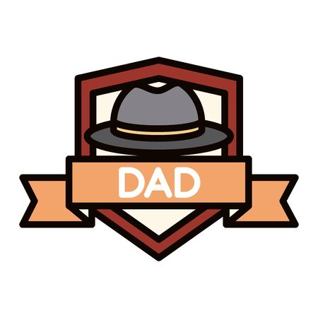 happy fathers day, hat ribbon badge decoration celebration vector illustration line and fill icon