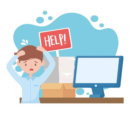stress at work, worried man with help board computer documents stack vector illustration Иллюстрация