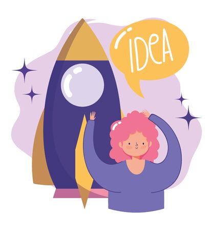 people communication and technology, girl and rocket startup creativity idea vector illustration