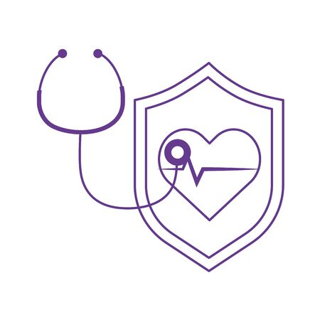 thanks doctors nurses stethoscope heartbeat shield protection medical vector illustration