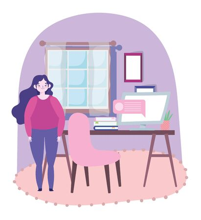 working remotely, woman standing in room with desk computer books vector illustration Иллюстрация