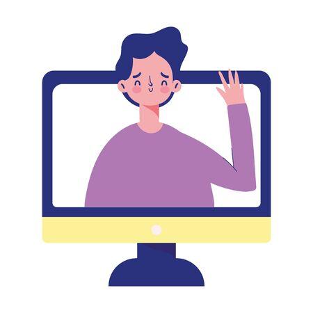 education online, student boy waving hand video call computer vector illustration