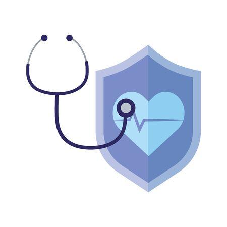 thanks doctors nurses stethoscope heartbeat shield protection medical vector illustration