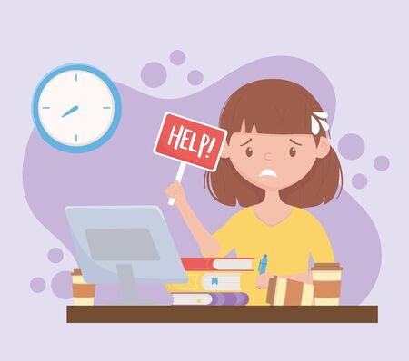 stress at work, worried female employee with help placard in office vector illustration