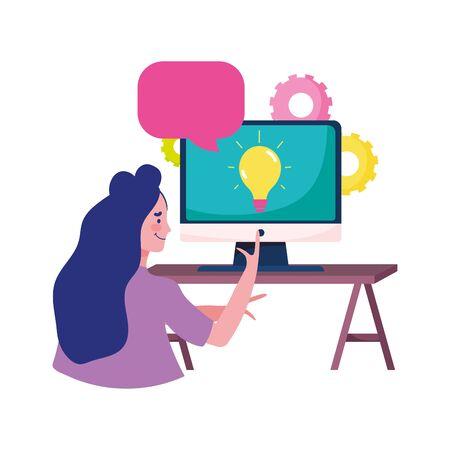 education online, teacher with computer on desk speech bubble vector illustration