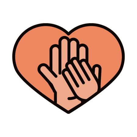 happy fathers day, dad and son hands in heart love celebration vector illustration line and fill icon