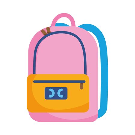 school backpack equipment isolated icon on white background vector illustration