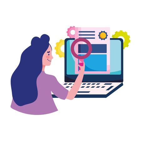 education online, teacher certificate computer success cartoon Иллюстрация