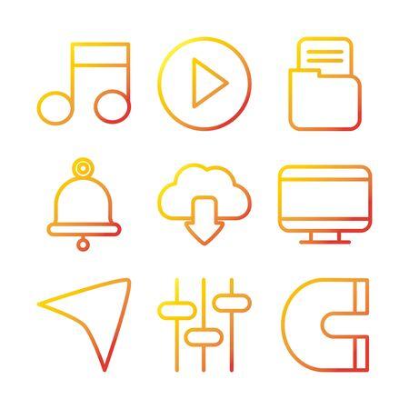 interface internet web technology digital icons set vector illustration