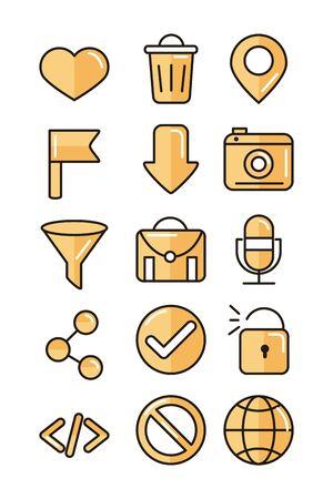 interface internet web technology digital icons set
