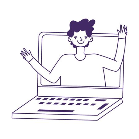 education online, student boy video call laptop virtual vector illustration