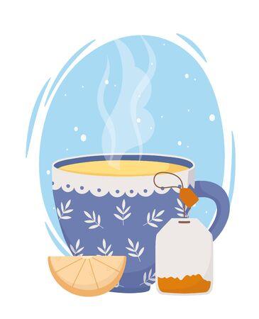 tea time, blue cup teabag and slice lemon fresh design vector illustration