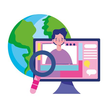 education online, world computer student analysis class vector illustration