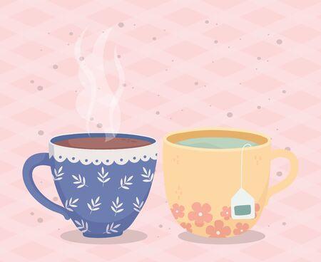 coffee time, cups coffee tea teabag fresh beverage vector illustration