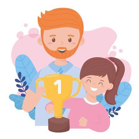 Père avec fille avec design de trophée, célébration de la fête des pères et thème de l'amour Illustration vectorielle