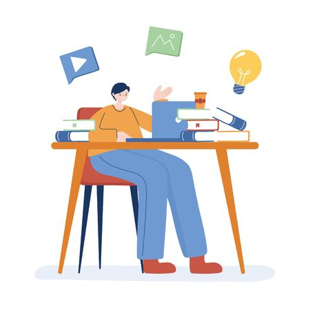 Man with laptop and books on desk design, Digital technology and communication theme Vector illustration Vectores