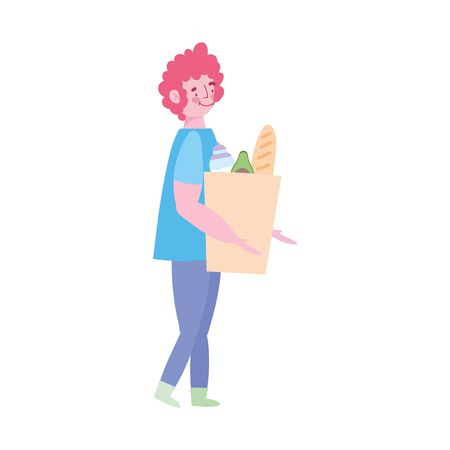 young man carrying paper bag grocery with food isolated design vector illustration Illustration