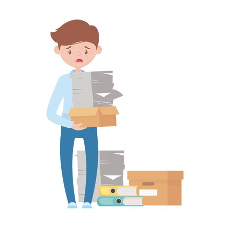 stress at work, worried employee with pile of documents binder boxes