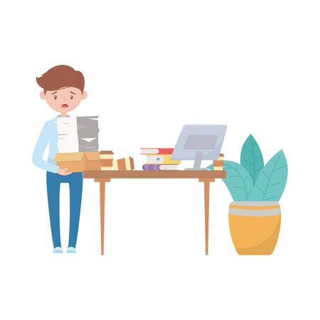 stress at work, frustrated worker with many documents desk with laptop books