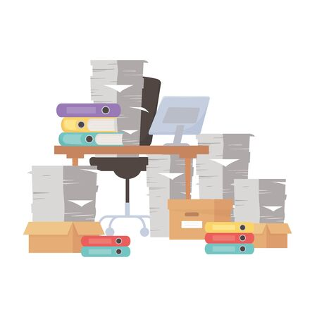 stress at work, desk chair pile of papers and many binders and boxes Иллюстрация