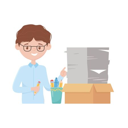stress at work, businessman with documents stack office work vector illustration