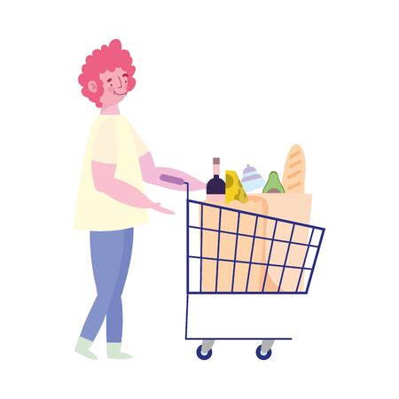 people hoarding purchase, young man with shopping cart food supermarket Illustration