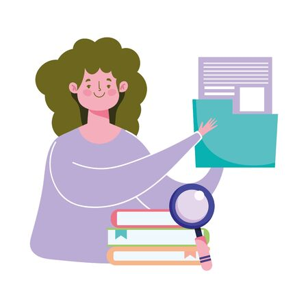 online education, teacher with folder document and books