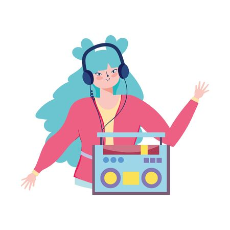 girl listening music with stereo radio and earphones  イラスト・ベクター素材