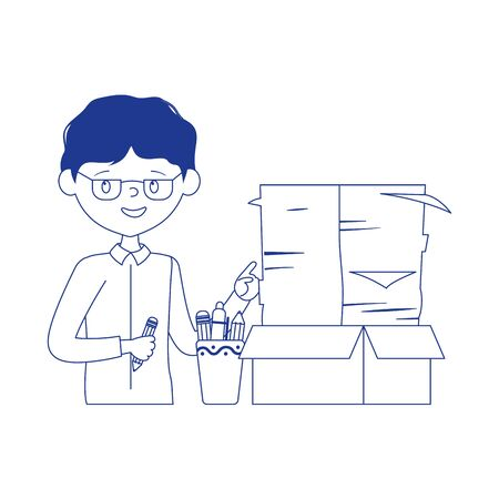 stress at work, businessman with documents stack office work Illustration