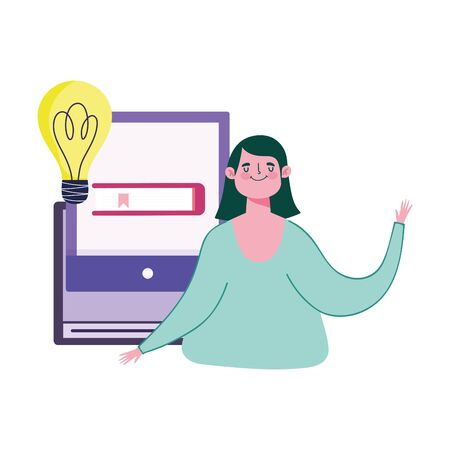 online education, student video talking lesson computer virtual Illusztráció