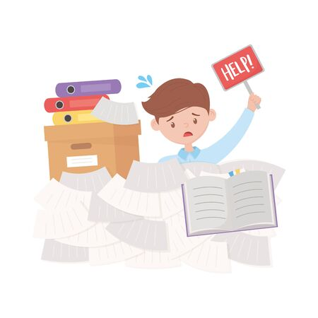 stress at work, businessman lot of paperwork with help placard Иллюстрация