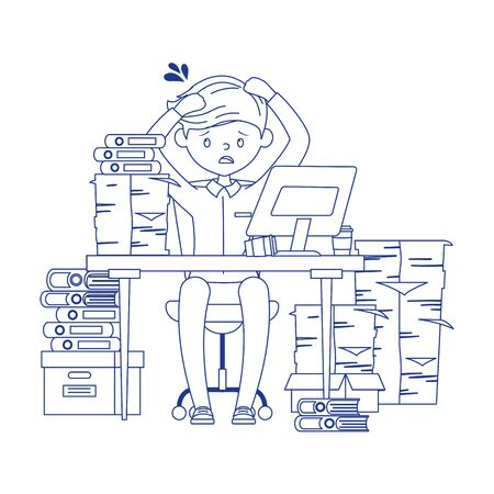 stress at work, exhausted businessman sitting in the office vector illustration