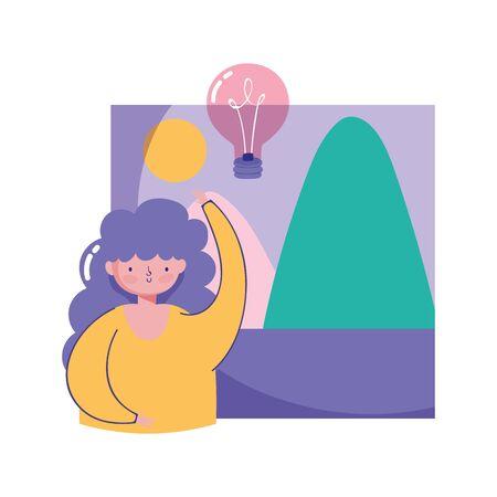 people creativity technology, girl photo bulb idea Ilustracja