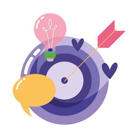 people creativity technology, target arrow bulb idea cartoon