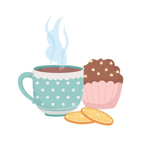 coffee time, cup cupcake and slices orange fresh beverage